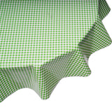 freckled sage lime gingham round oilcloth tablecloth