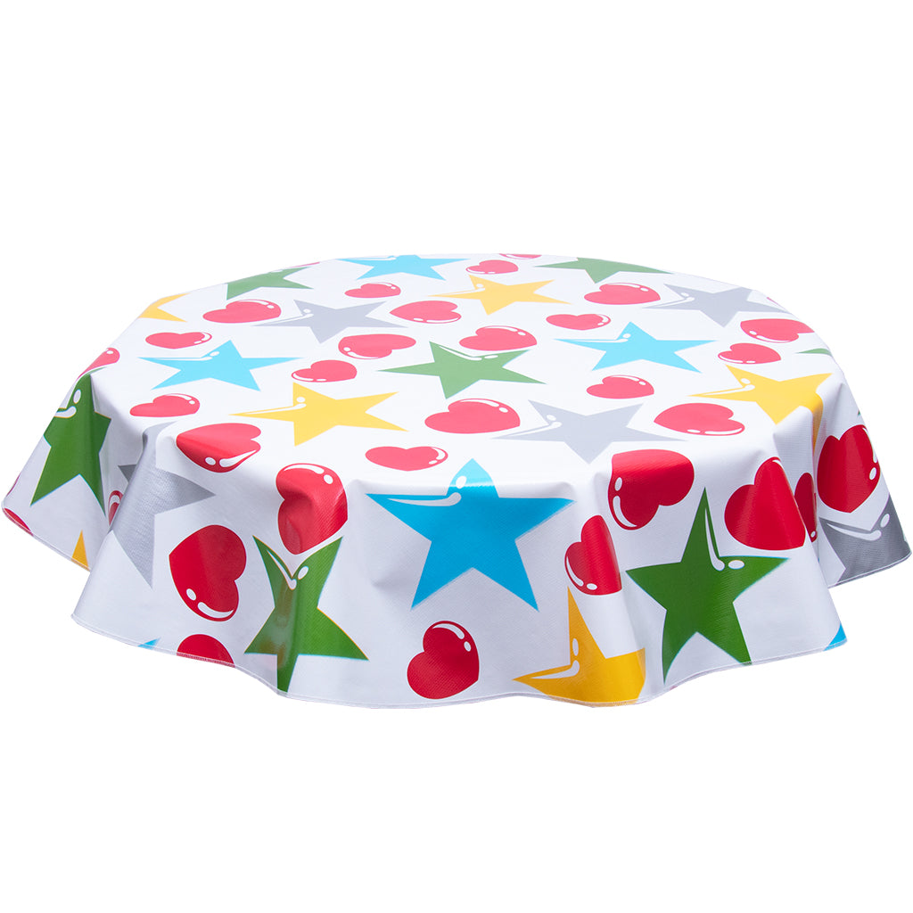 FreckledSage.com Round Tablecloth Hearts & Stars Red and Silver