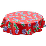 round oilcloth tablecloth Vintage Roses on Red
