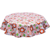 freckled sage round oilcloth tablecloth picnic orange and brown