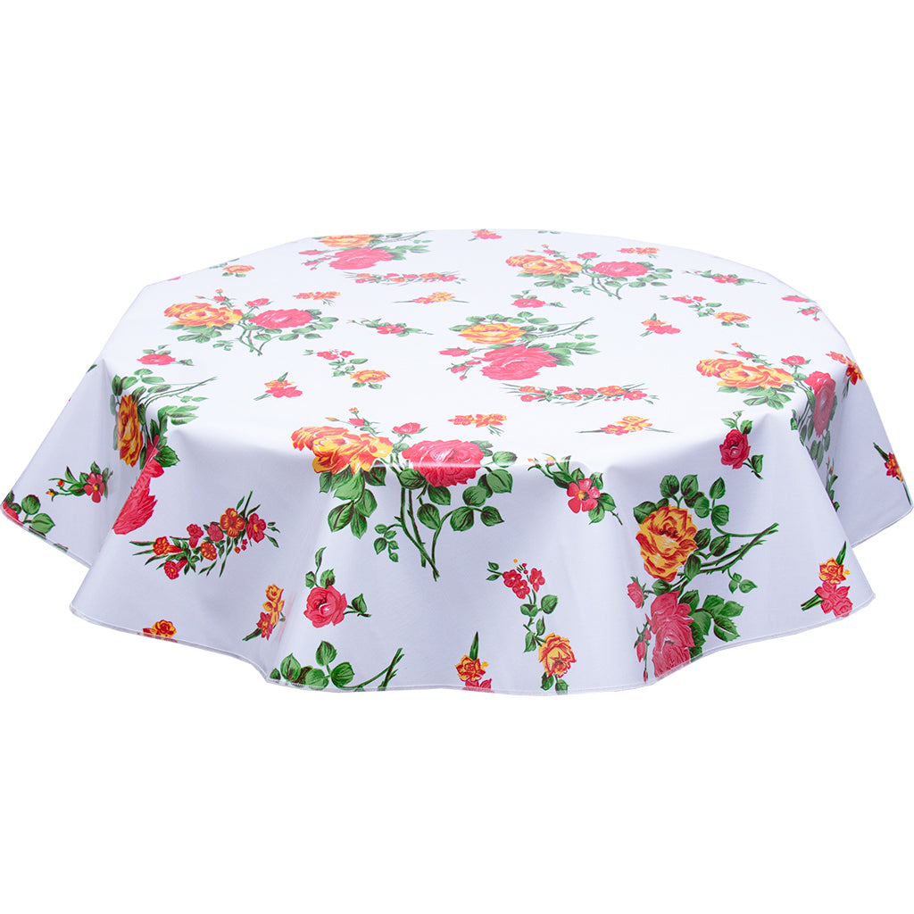 Round Oilcloth Tablecloth Rose and grid White