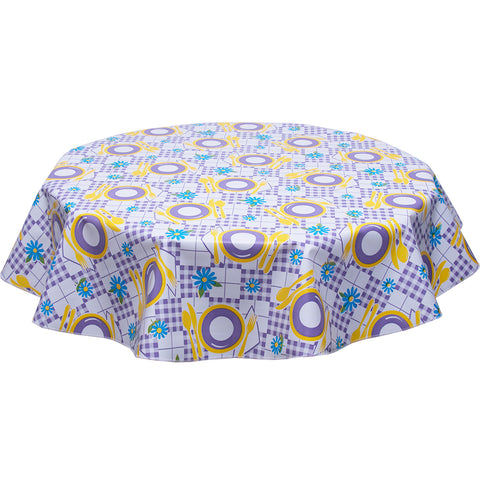 freckled sage round tablecloth purple and yellow picnic