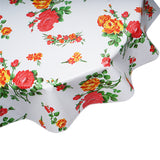 Roses on White Round Oilcloth Tablecloth