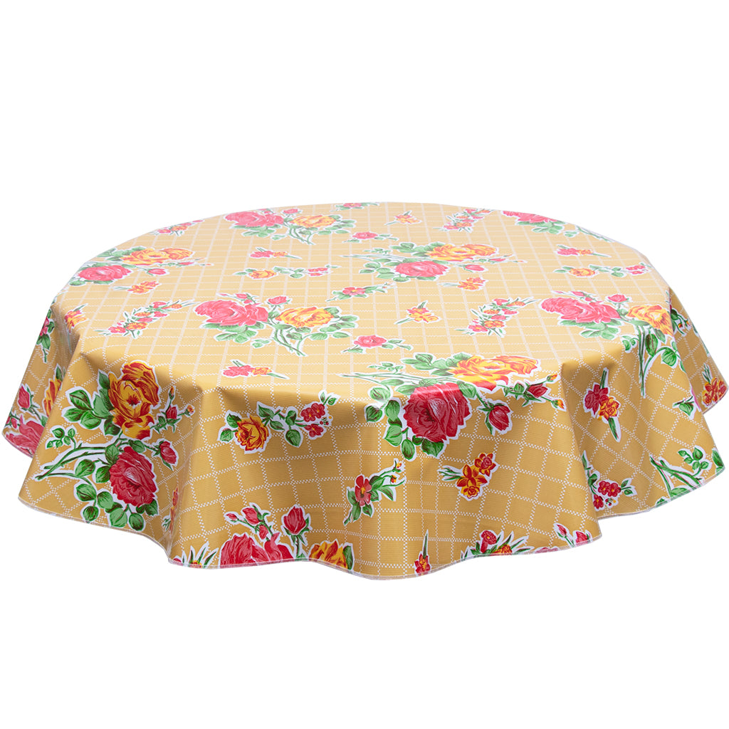 FreckledSage.com Rose and Grid Tan Round Oilcloth Tablecloth