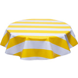 freckled sage round tablecloth wide stripe yellow