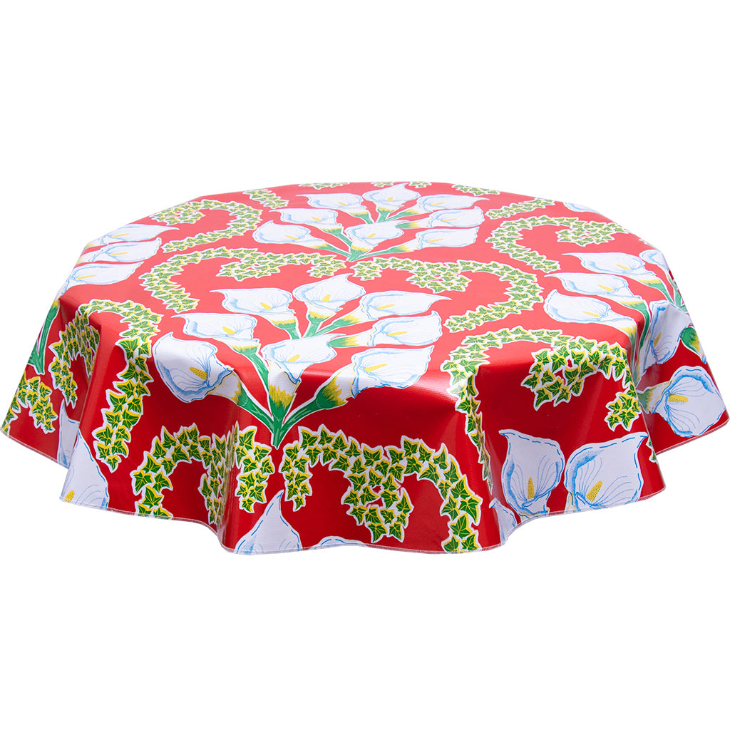 round oilcloth tablecloth Calla lily red