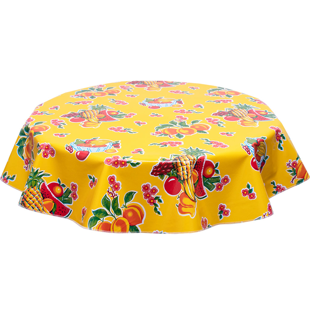 Fruit Basket on Yellow Round Oilcloth Tablecloth