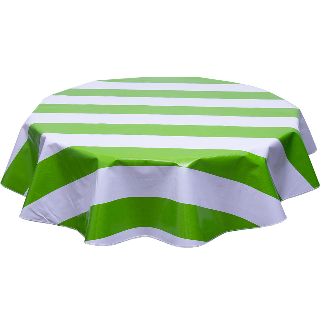 Wide Stripe Lime Round oilcloth tablecloth