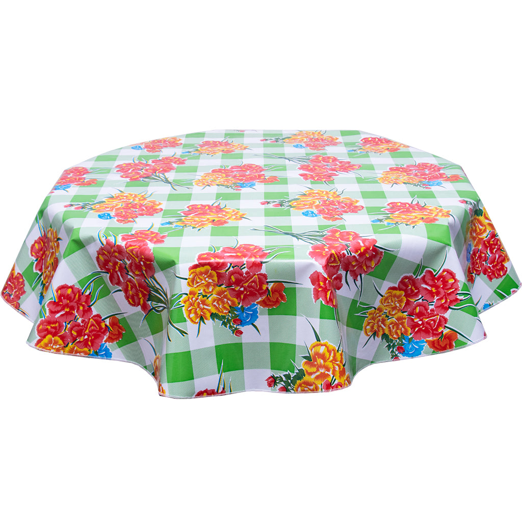 Round Tablecloth Carnations on Buffalo Check Lime
