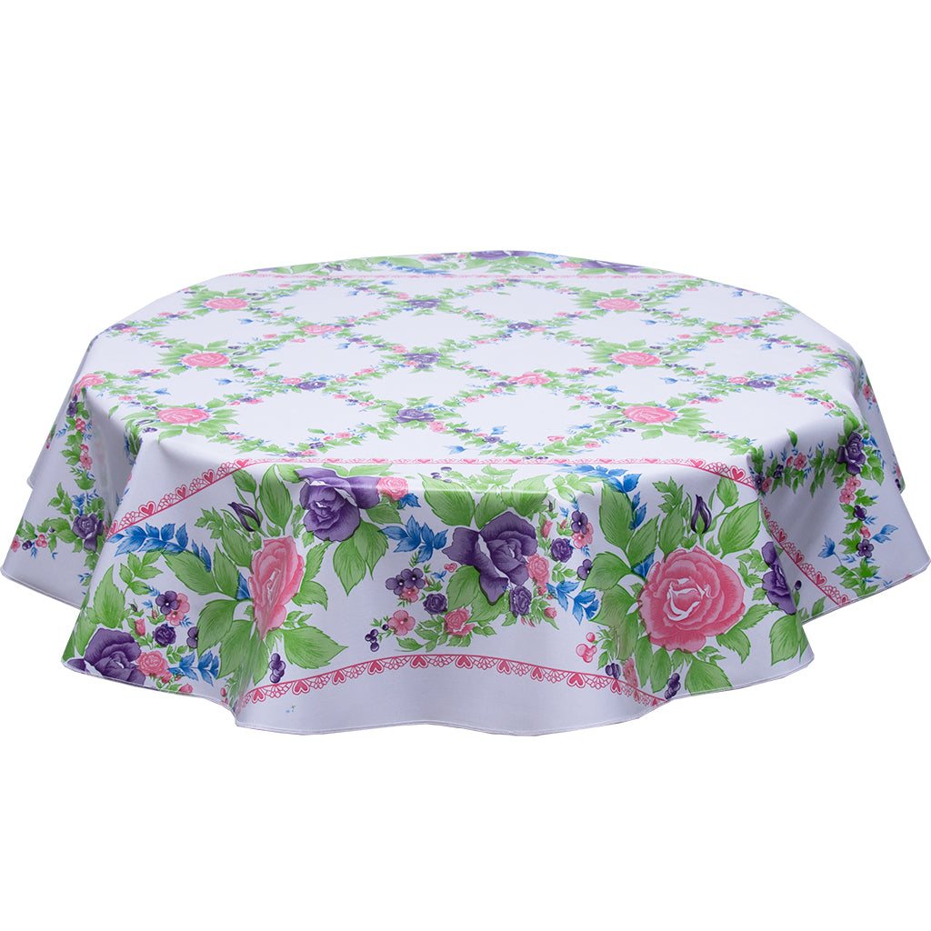 round oilcloth tablecloth pink antique roses on white