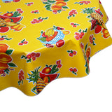 Round Oilcloth Tablecloth Fruit Basket Yellow