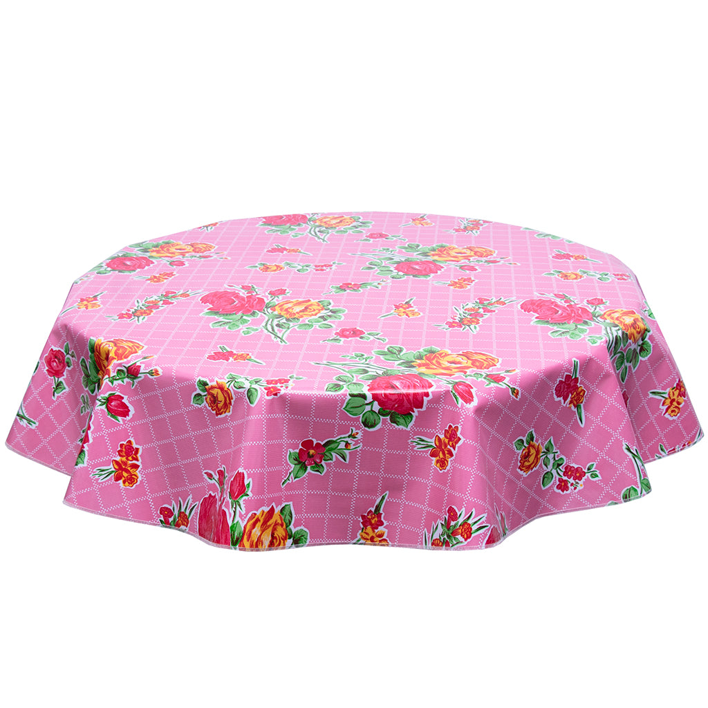 FreckledSage.com Rose and Grid Pink Round Oilcloth Tablecloth