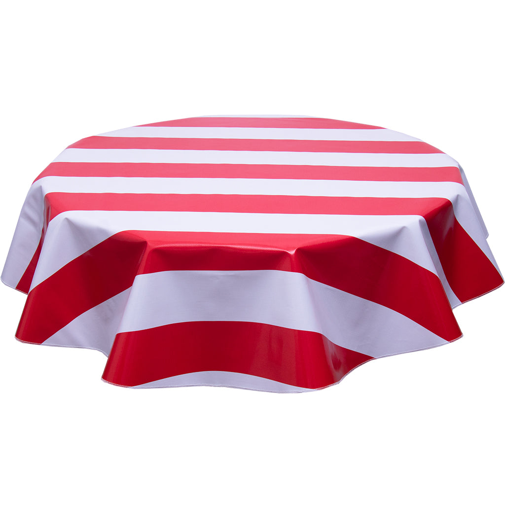 freckled sage round tablecloth wide stripe red