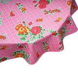 FreckledSage.com Round Rose and Grid Pink Tablecloth