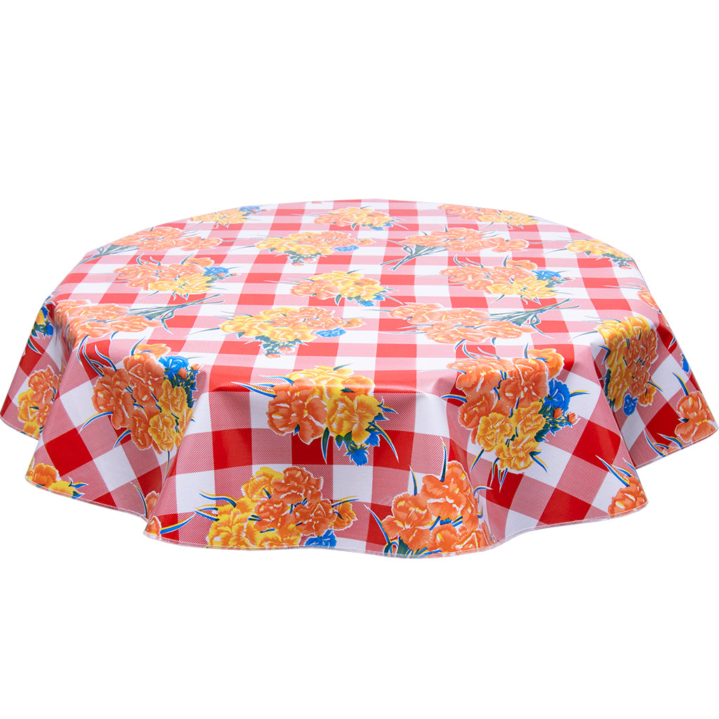 FreckledSage.com Round tablecloth Carnations on Red Buffalo Check