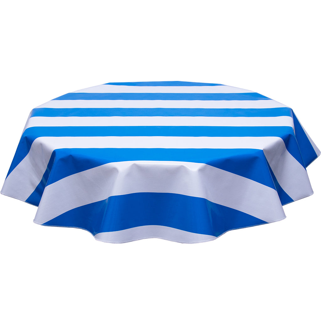Freckledsage.com Round tablecloth wide stripe blue