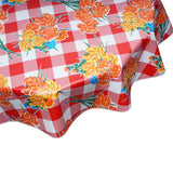 FreckledSage.com Round Tablecloth in Carnations on Red Buffalo Check