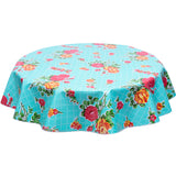 Round oilcloth tablecloth rose and grid on aqua
