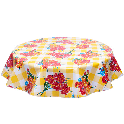 FreckledSage.com Carnations on Yellow Buffalo Check Round Tablecloth