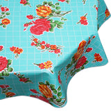 rose and Grid Aqua Round oilcloth tablecloth