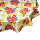 FreckledSage.com Round Tablecloth Carnations on Yellow Buffalo Check
