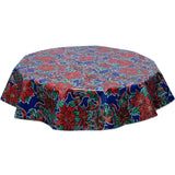 freckled sage christmas tablecloth holly and ribbons on blue