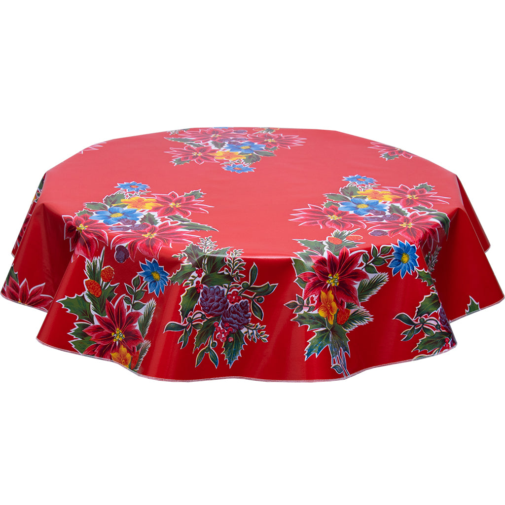christmas poinsettia red round tablecloth