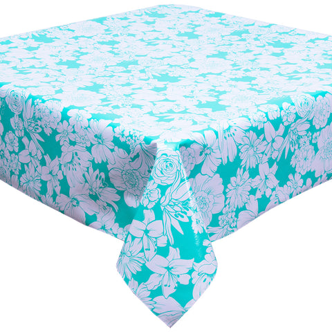 Chelsea Flowers on Aqua Tablecloth