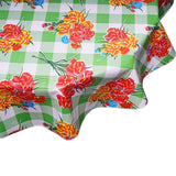 Carnations on Lime Gingham Round Oilcloth Tablecloth
