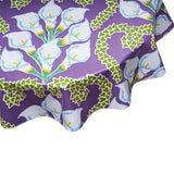Round Oilcloth tablecloth Calla lily purple
