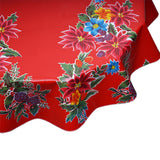 round tablecloth christmas poinsettia red