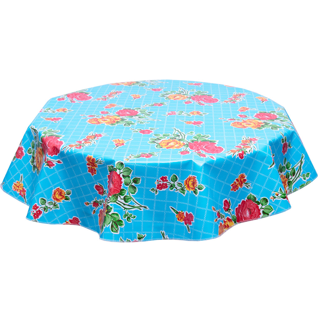 round tablecloth rose and grid light blue