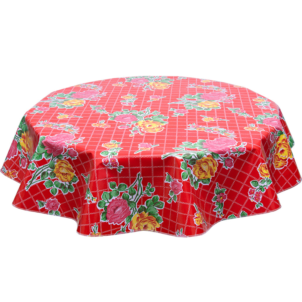 Round oilcloth tablecloth Roses and Grid on Red
