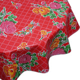 Rose and Grid Red Round oilcloth tablecloth