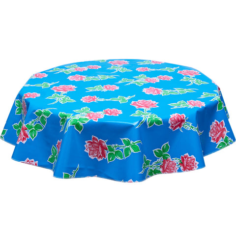 Round Tablecloth Roses on Blue