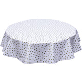 Gold dots on white round oilcloth tablecloth