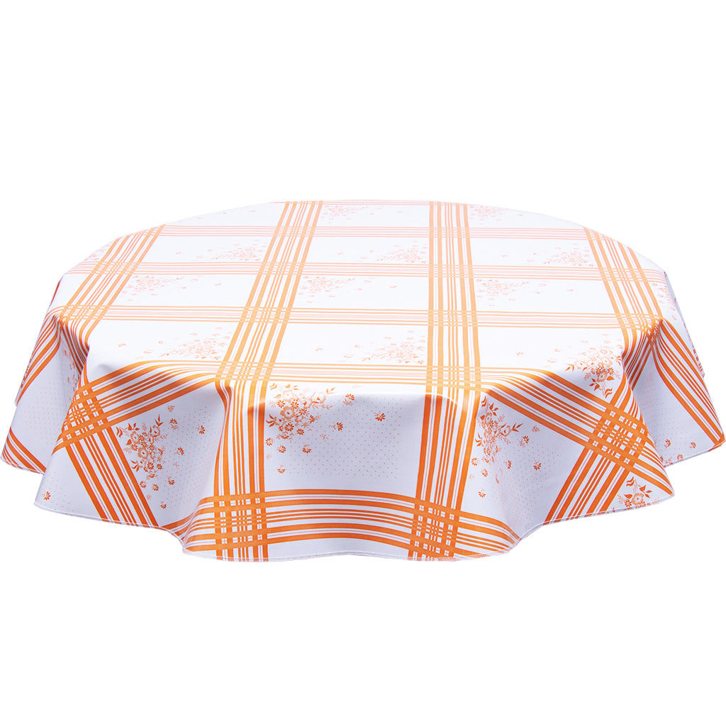 round oilcloth tablecloth corn flower orange