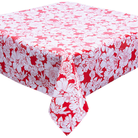 Chelsea Flowers on Red Oilcloth Tablecloth