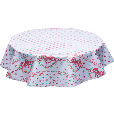 Round Oilcloth Tablecloth Tea Party Red