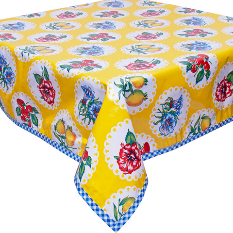 Freckled Sage Oilcloth Tablecloth Doily 2 Yellow with Blue Gingham Trim