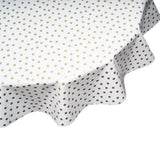 Round oilcloth tablecloth gold dots on white