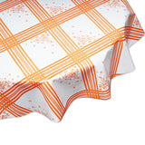 Corn flower orange round oilcloth tablecloth