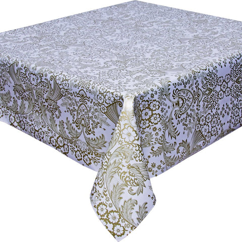 Freckled Sage Gold Toile Tablecloth