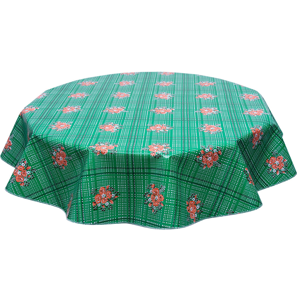 Bouquet Green Round Oilcloth Tablecloth