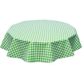 freckled sage round tablecloth houndstooth lime