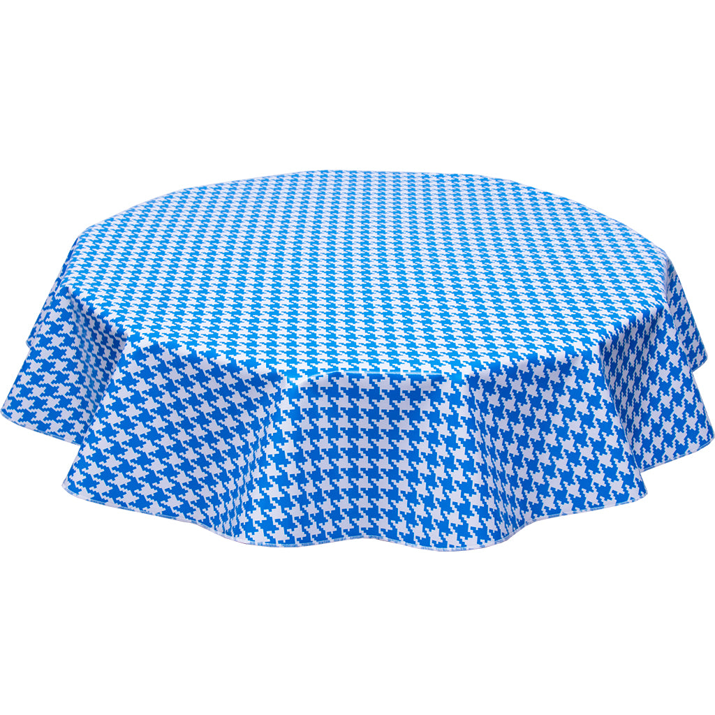 freckled sage round oilcloth tablecloth houndstooth blue