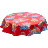 FreckledSage.com Round lemons and Roses Red Tablecloth