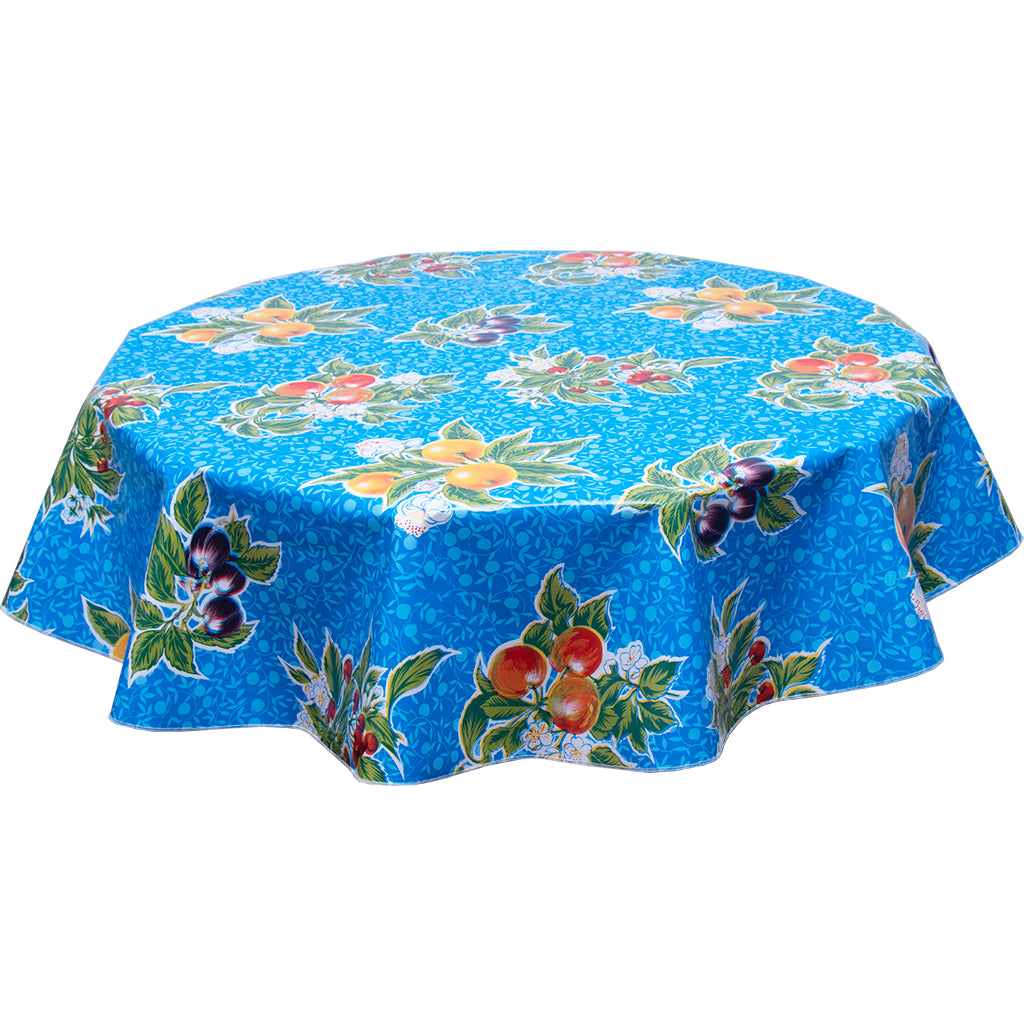 Round oilcloth tablecloth plum on blue