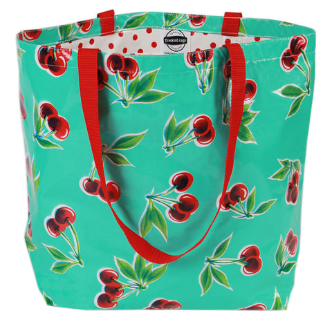 Freckled Sage Oilcloth Market Bag Cherry Aqua
