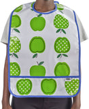 Freckled Sage Oilcloth Bib Apples and Dots Green